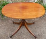 Quality Oval Mahogany Pedestal Coffee Table